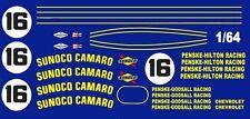 #16 Penske-Hilton Sunoco Camaro 1967 1/64th HO Scale Slot Car Waterslide Decals