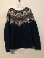 Woolrich Size XL Fair Isle Wool Rugged Outdoor Handknit Blue Red Sweater Women