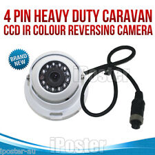 4 PIN Heavy Duty Caravan CCD IR Colour Reversing Camera rear view white 4Pin Cam