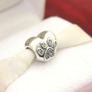 * Authentic Pandora I Love My Pet Paw Heart 791713CZ Dog Cat Paw Charm