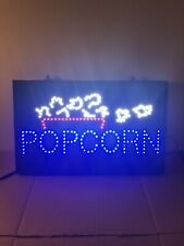 """Popcorn Led Business Sign 26""""x16"""" Motion Lighted Works Man-cave Game-room Used"""