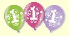 Ballons 1 Birthday GIRL 6 Luftballons Lila PInk Grün Erster Geburtstag Mädchen