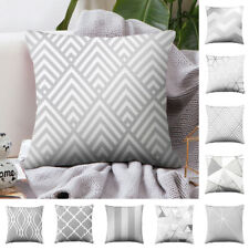 "18"" Square Silver Gray Geometric Pillow Case Sofa Throw Cushion Cover Home Decor"