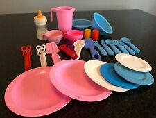 Fisher Price Fun With Food Mixed Set Lot Milk Bottle Spoon Pitcher Plates dishes
