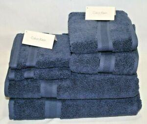 Calvin Klein Six Piece Solid Dark Blue Bathroom Towel Set 100% Cotton New