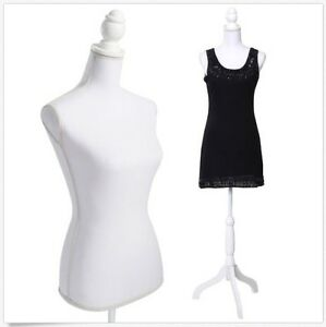 New White Female Mannequin Torso Dress Form Clothing Display w Tripod Stand Base