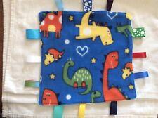 Boys Dinosaur Themed Taggy Comforter With blue dimple fleece