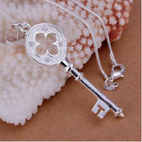 Rhinestone 925 Silver Chain Jewelry  Key Pendant Women Fashion Present
