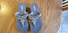 Mixit Womens Gray Rhinestone Platform Wedge Sandals Flip Flops Size 7 NWOT