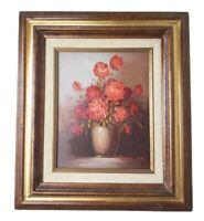 Robert Cox Vintage Flower Still Life Oil Painting Red Roses Vase Wood Gold Frame
