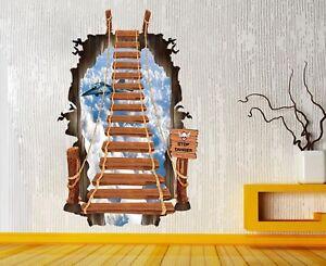 UK Removable 3D Bridge Floor Window Wall Sticker Mural Decal Art Decor ALL ROOM