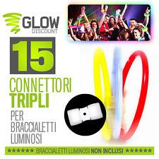 15 CONNETTORI TRIPLI bracciali luminosi starlight fluo starlight party rosa