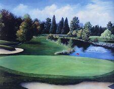 "Barb Narkaus,""The Seventeenth at Riverside"", poster, 22"" h x 28""w image, golf"