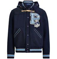 $698 NWT POLO RALPH LAUREN Men's Sz L Letterman Grey's Hall Varsity Patch Jacket