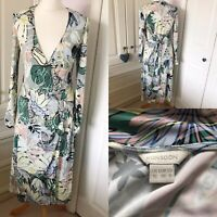 Monsoon Pastel Abstract Floral Soft Silky Stretch Jersey Wrap Midi Dress UK 10