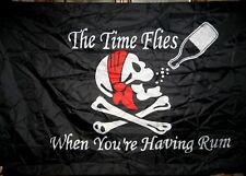 """New 3' X 5' Foot - Pirate Flag """"The Time Flies When You're Having Rum"""""""