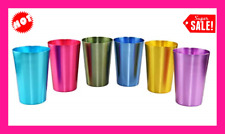 Colorful Aluminum Drinking Cups Set of 6, Colored Metal Tumblers, Shatter Resis