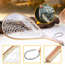 New Fly Fishing Net Catch Landing Pan Trout Net Wooden Handle Rubber Fish Tool