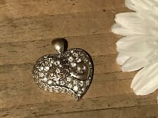 Pendant Large Heart Silver Metal w/ Crystals