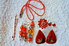 jewelry set Orange necklace earrings bracelet silver tone ring