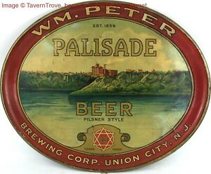 1900s Wm Peter Union City New Jersey PALISADE BEER 17 inch Serving Tray