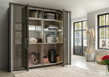GERMAN KANSAS 6 DOOR WARDROBE BEDROOM FITTED FREE WHITE SILVER GRAPHITE GLASS
