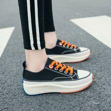 Womens Ladies Fashion Canvas Platform Lace Up Casual Plimsole Shoes Sneakers SKG