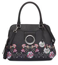 Calvin Klein Saffiano Leather Floral Top Handle Satchel Purse Handbag Black $268