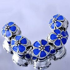 5pcs Blue Enamel flower charms lot Beads Silver Fit European Bracelet