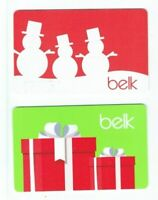 Belk Gift Card Christmas Snowmen Presents - Department Store- LOT of 2 -No Value