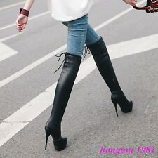 Gladiator Womens Ladies PU Leather Zipper Over Knee Thigh Boots Stilettos Shoes