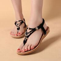été Femme Bohême chaussures plates sandales plage String orteil
