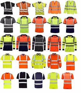 Hi Viz Vis Polo T-Shirt Top High Visibility Safety Security Work wear Shirts Tee