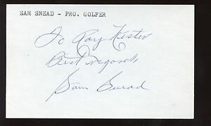 Sam Snead Golf Pro Autographed Signed 3x5 Index Card w/ B&E Hologram