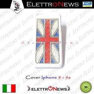 Cover Custodia Iphone 5 5s Rigido con Brillantini Su Sfondo Bianco Uk