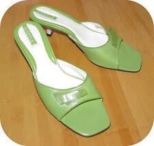 """Nickels Proper 1.75"""" Kitten Heel Sandals 8M Green Leather Lined Brazil"""