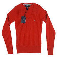 GANT maglia a V donna rosso lana stretch red wool woman v-neck sweater SIZE XS