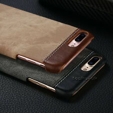 Hybrid Ultra Thin Hard Shockproof Canvas+PU Leather Case Cover For Various Phone