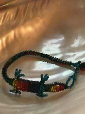 Estate Rainbow Beaded Salamander Lizard Bracelet – 6 inches + 1.25 inch extender
