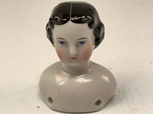 Antique German China Head & Shoulders (Only) Black Dolly Madison Molded Hair