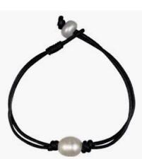 Freshwater Cultured Single Pearl Black Leather Bracelet
