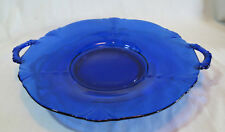 Paden City Crow's Foot Cobalt Blue 2 Handled Round Cake Plate/Tray