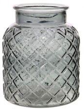Charcoal Glass Flower Vase Wide Mouth Vase Lattice Design Etched Design Wedding