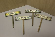 Home Interiors - Set of 4 Rustic Wooden Flower Markers