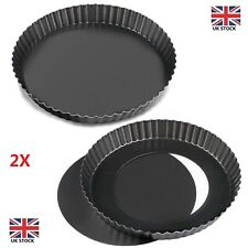 2 Pack Non-sticks 8 Inches Quiche Tart Pan, Removable Loose Bottom Tart Pie