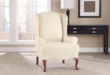 Tusk Ivory chevron Wing Chair sure fit slip cover slipcover