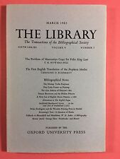 THE LIBRARY - The Bibliographical Society - Sixth Series Vol.4 No.1 March 1982