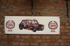 BMC mini cooper rally car WRC  large pvc heavy duty WORK SHOP BANNER garage