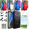 For Samsung Galaxy S6 /EDGE/PLUS Case Hybrid Armor Phone Cover + Glass Protector