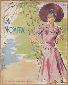 MODA LA NOVITA RIVISTA DELLE FAMIGLIE AGOSTO 1941 MODELLI ABITI MODA SARTORIA